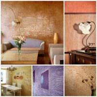 идея красивого интерьера квартиры с декоративной штукатуркой фото