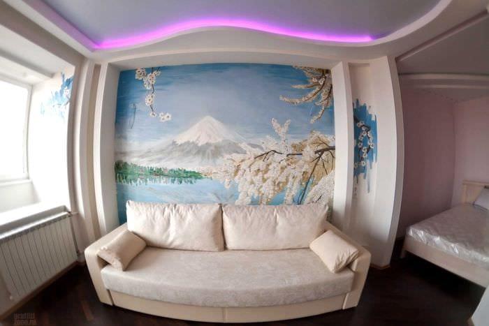 идея необычного интерьера комнаты с декоративным рисунком на стене