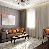 вариант функционального интерьера гостиной комнаты 17 кв.метров фото
