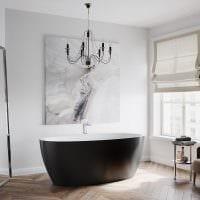 идея необычного интерьера белой ванной фото
