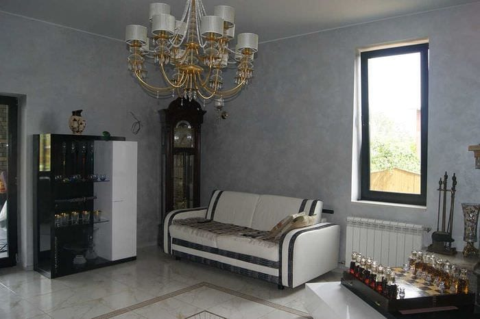 идея необычной декоративной штукатурки в дизайне спальни под бетон