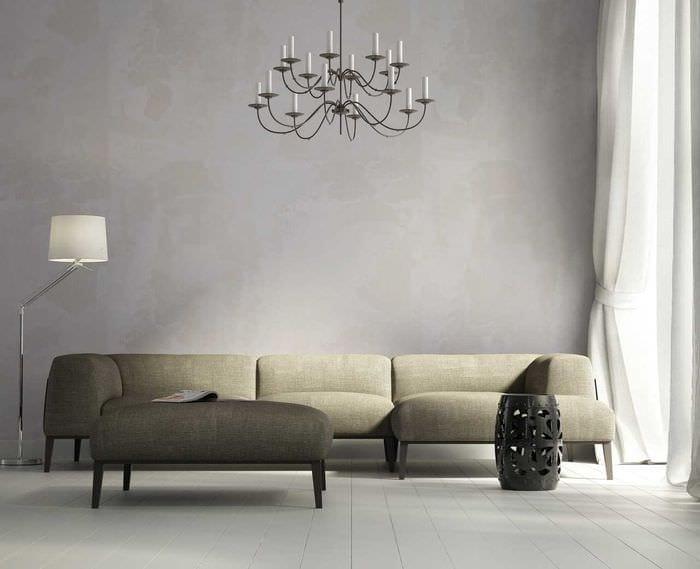 вариант оригинальной декоративной штукатурки в стиле спальни под бетон