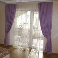 вариант необычных декоративных штор в интерьере комнаты фото