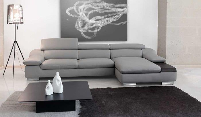 идея необычного дизайна кухни с диваном