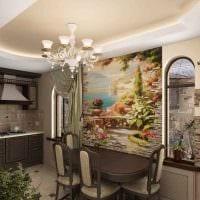 идея современного декора квартиры с декоративным рисунком на стене фото