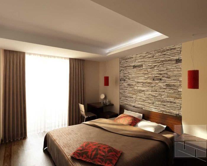 Декоративный камень в интерьере спальни фото