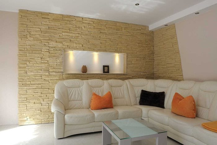 вариант оригинального декоративного камня в стиле комнаты