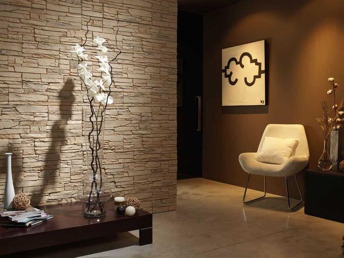 идея красивого декоративного камня в интерьере квартиры