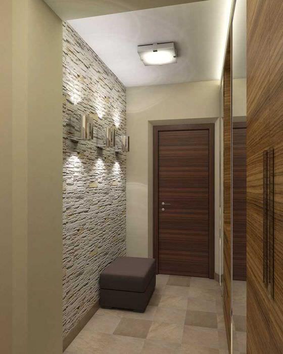 вариант яркого декоративного камня в дизайне комнаты