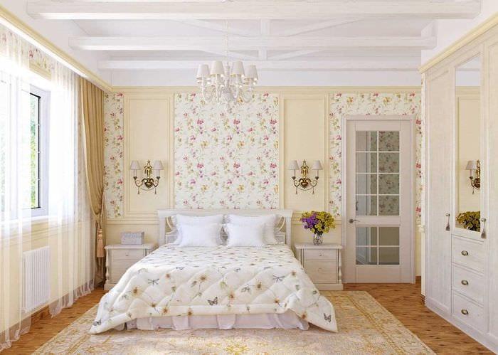 вариант необычного декорирования дизайна спальни