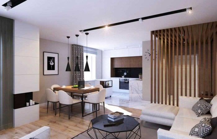 вариант оригинального декора гостиной 3-х комнатной квартиры