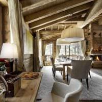 вариант красивого интерьера гостиной в деревенском стиле фото