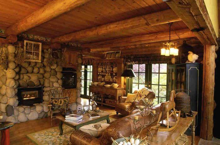 идея современного декора комнаты в деревенском стиле