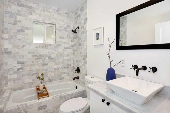 Дизайн маленькой ванной без кафеля