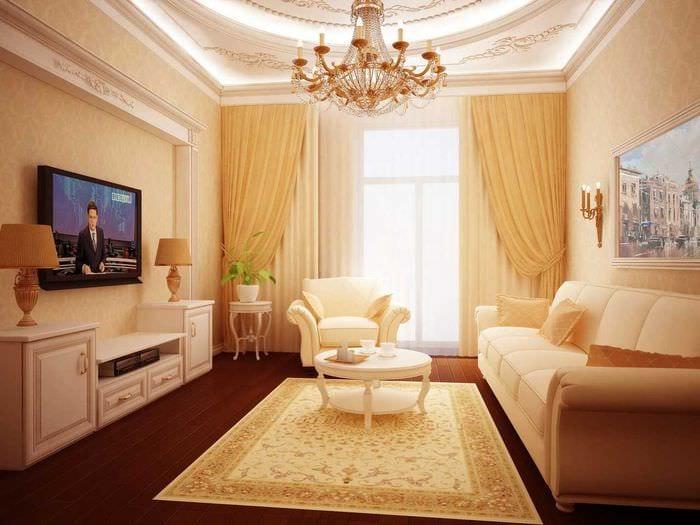 вариант функционального дизайна гостиной комнаты 17 кв.метров