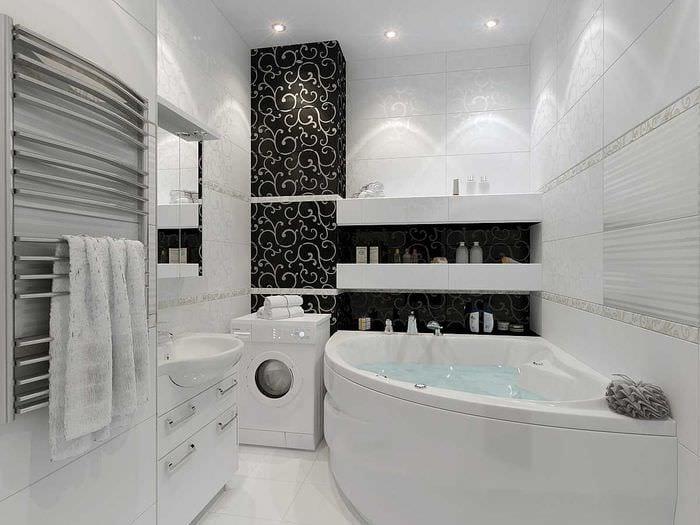 вариант оригинального интерьера белой ванной