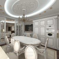 идея яркого дизайна большой кухни фото