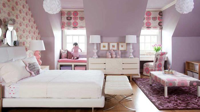идея цветной интерьера комнаты для девочки