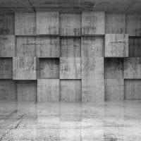 вариант яркой декоративной штукатурки в дизайне спальни под бетон картинка