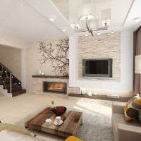 идея применения яркого декоративного кирпича в дизайне гостиной фото