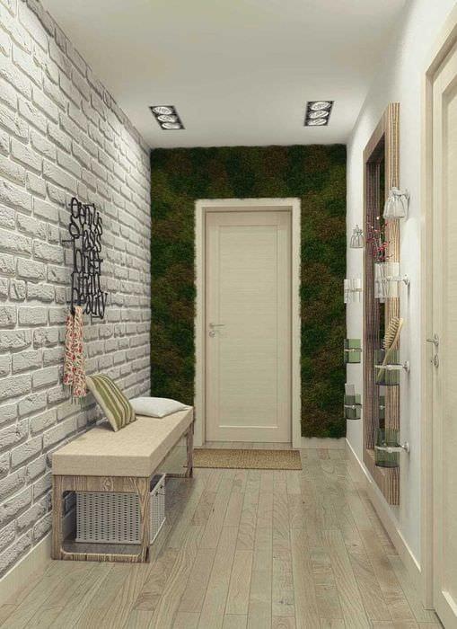 фото длинного коридора отделанного кирпичиками будешь наблюдать