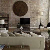 идея применения красивого декоративного кирпича в стиле гостиной фото
