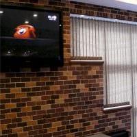 вариант применения яркого декоративного кирпича в интерьере гостиной картинка