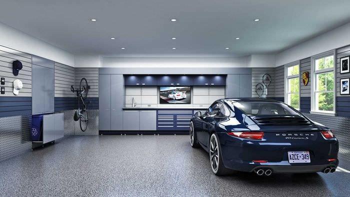 вариант яркого оформления гаража
