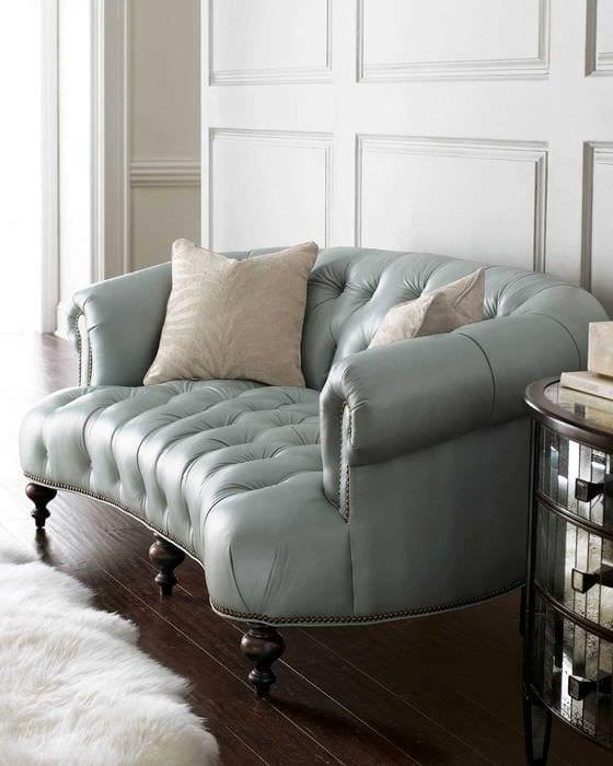 идея современного интерьера спальни с диваном