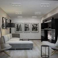 идея современного дизайна гостиной 3-х комнатной квартиры картинка