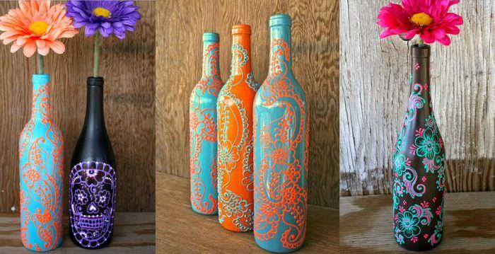 вариант яркого декорирования бутылок бисером