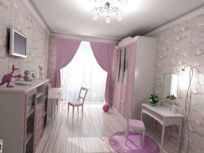 идея яркого стиля спальни для девочки