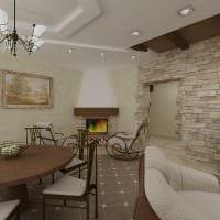 вариант яркого декоративного камня в дизайне квартиры фото