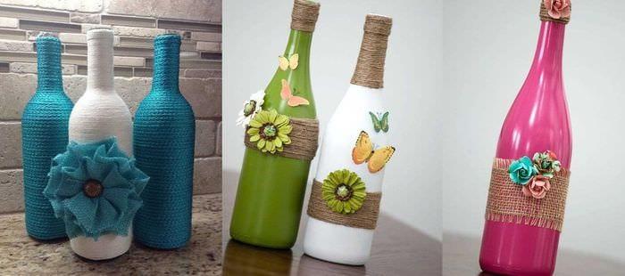 Декорирование бутылки своими руками фото 64