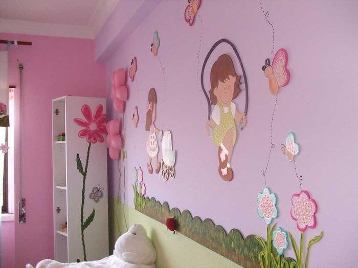 вариант цветной дизайна комнаты для девочки