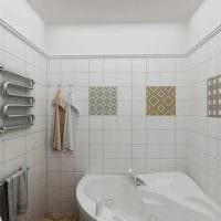 идея оригинального интерьера белой ванной комнаты картинка