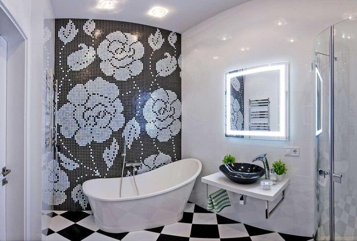 идея яркого интерьера белой ванной