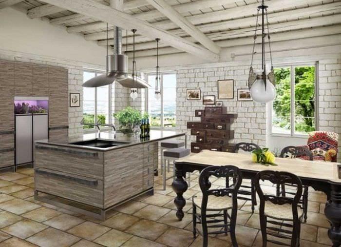 идея красивого декора квартиры с декоративными балками
