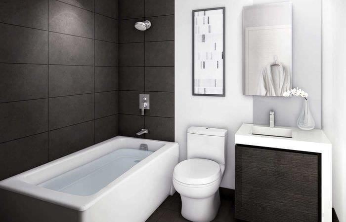 вариант оригинального дизайна белой ванной комнаты