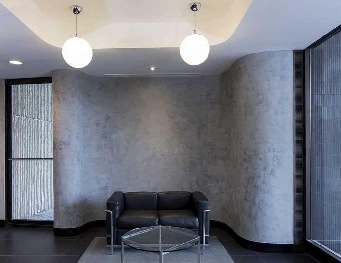 вариант красивой декоративной штукатурки в стиле квартиры под бетон