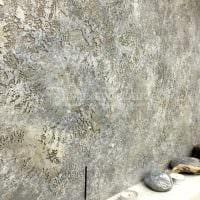 вариант необычной декоративной штукатурки в интерьере спальни под бетон фото