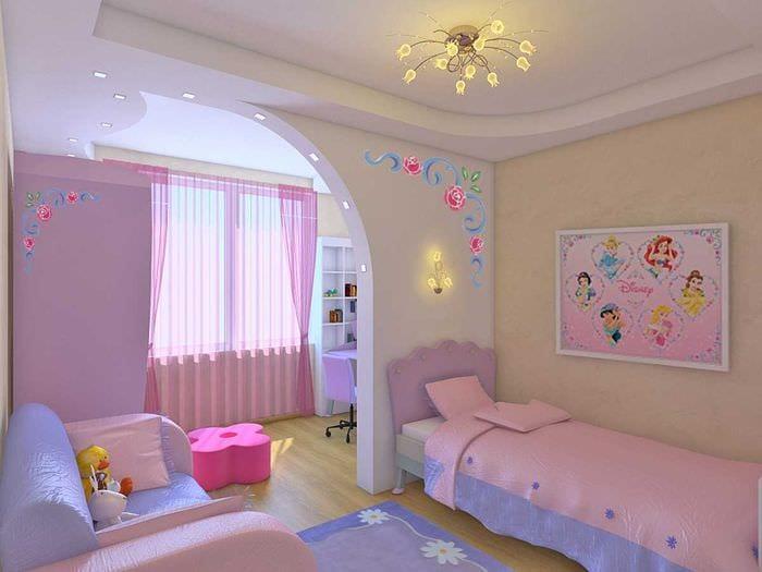 идея яркого дизайна спальни для девочки