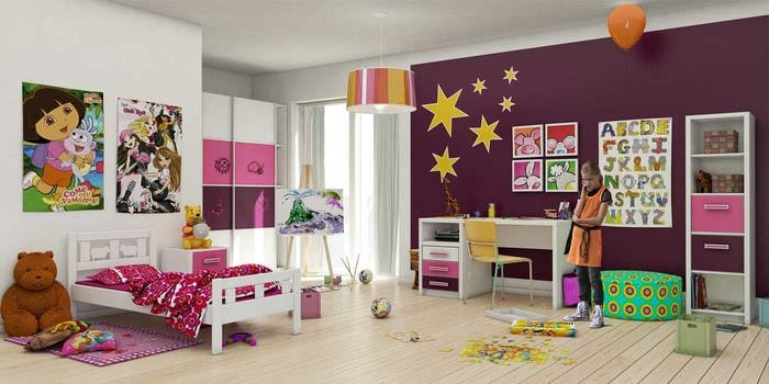 идея красивого дизайна спальни для девочки