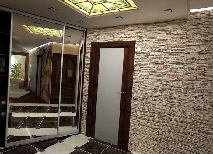 идея яркого декоративного камня в дизайне комнаты
