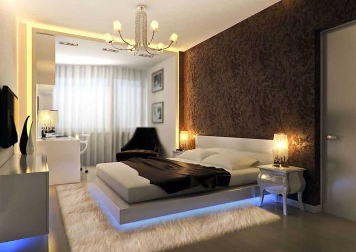 идея необычного декорирования стиля спальни