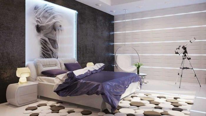 вариант необычного декорирования стиля спальной комнаты