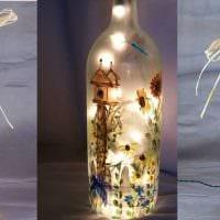вариант стильного декорирования стеклянных бутылок солью фото