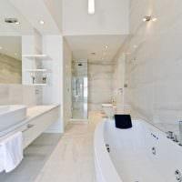 идея красивого стиля белой ванной комнаты фото