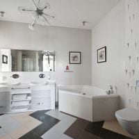 идея необычного дизайна белой ванной комнаты картинка
