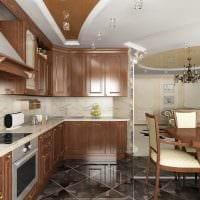вариант красивого дизайна большой кухни картинка